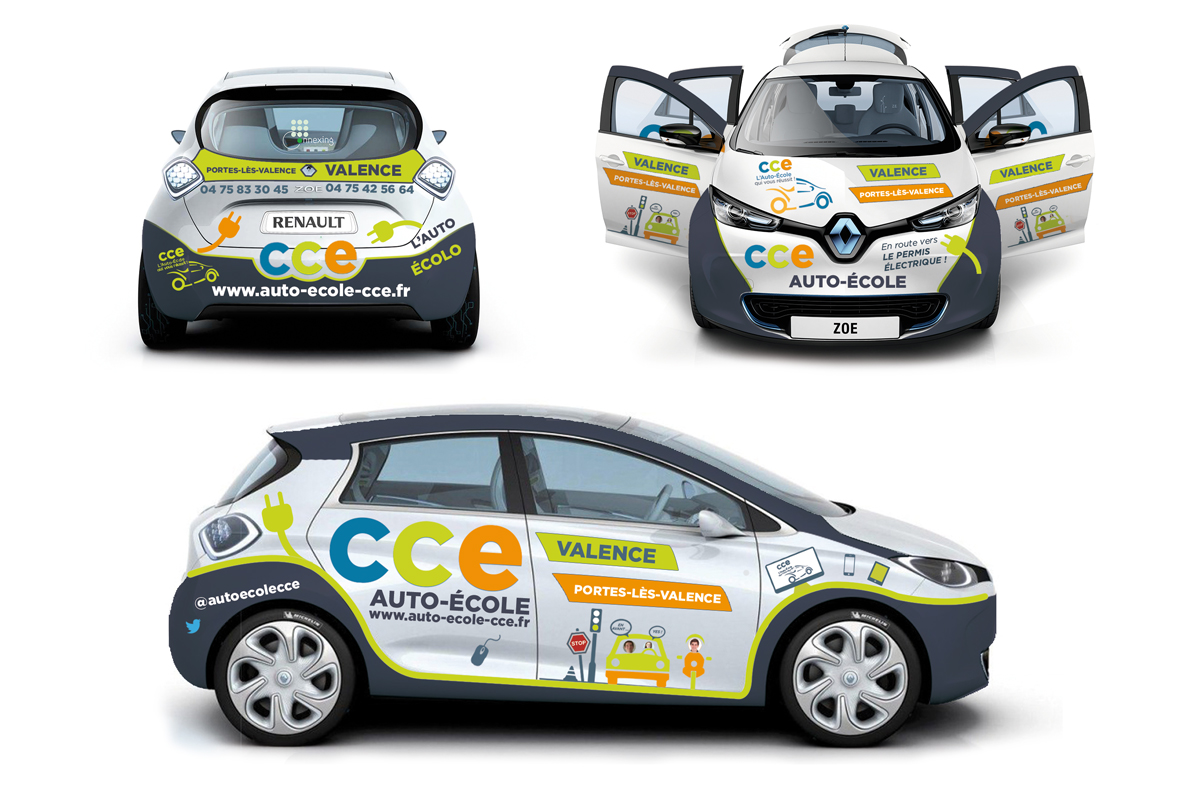 Marquage voiture Zoé : Auto-École CCE